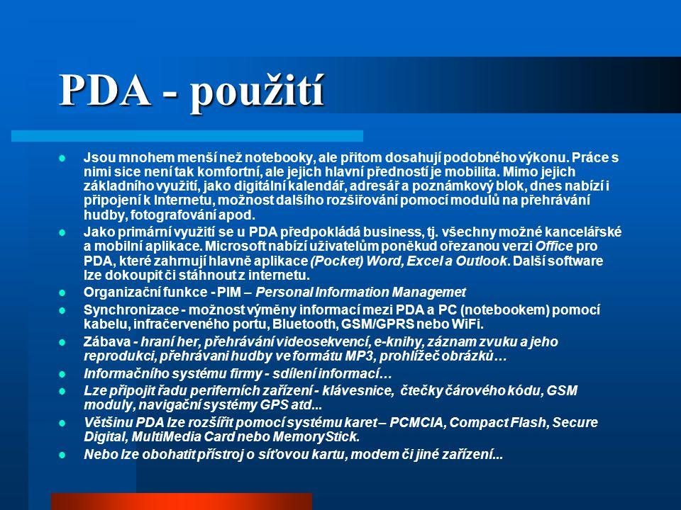 PDA - použití
