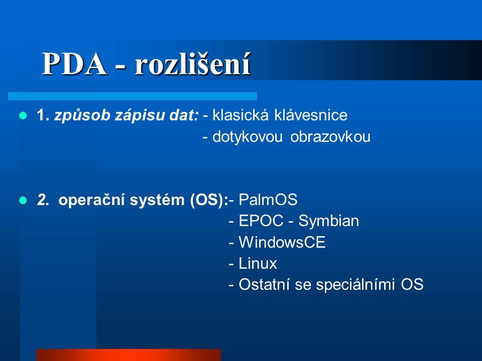 PDA - rozlišení 1. způsob zápisu dat: - klasická klávesnice