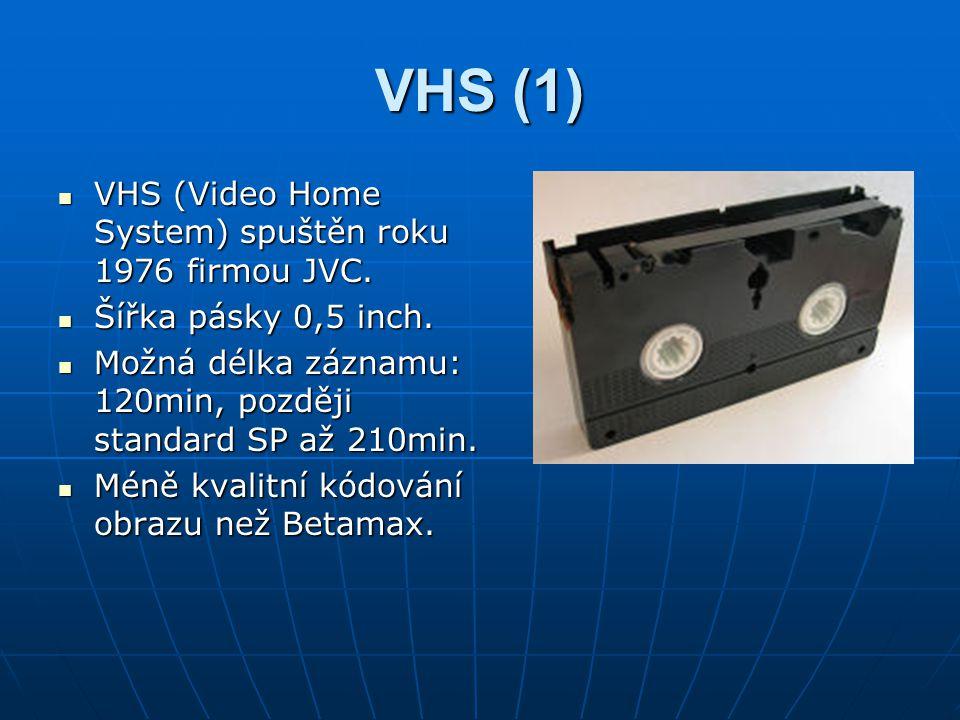 VHS (1) VHS (Video Home System) spuštěn roku 1976 firmou JVC.