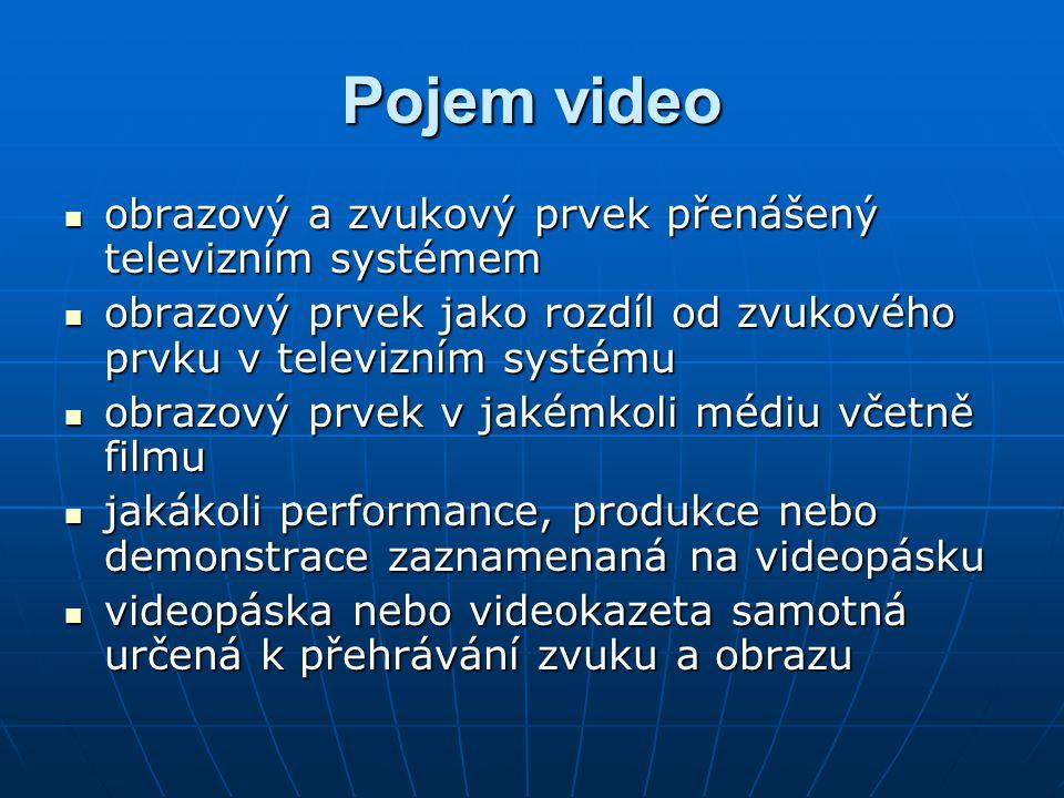 Pojem video obrazový a zvukový prvek přenášený televizním systémem
