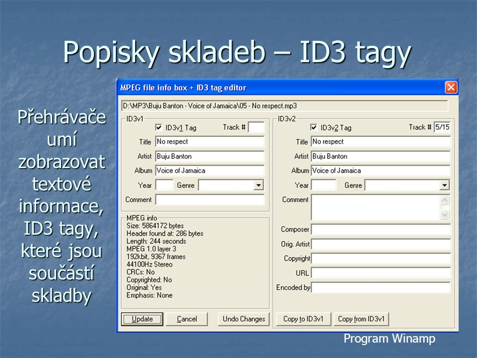 Popisky skladeb – ID3 tagy