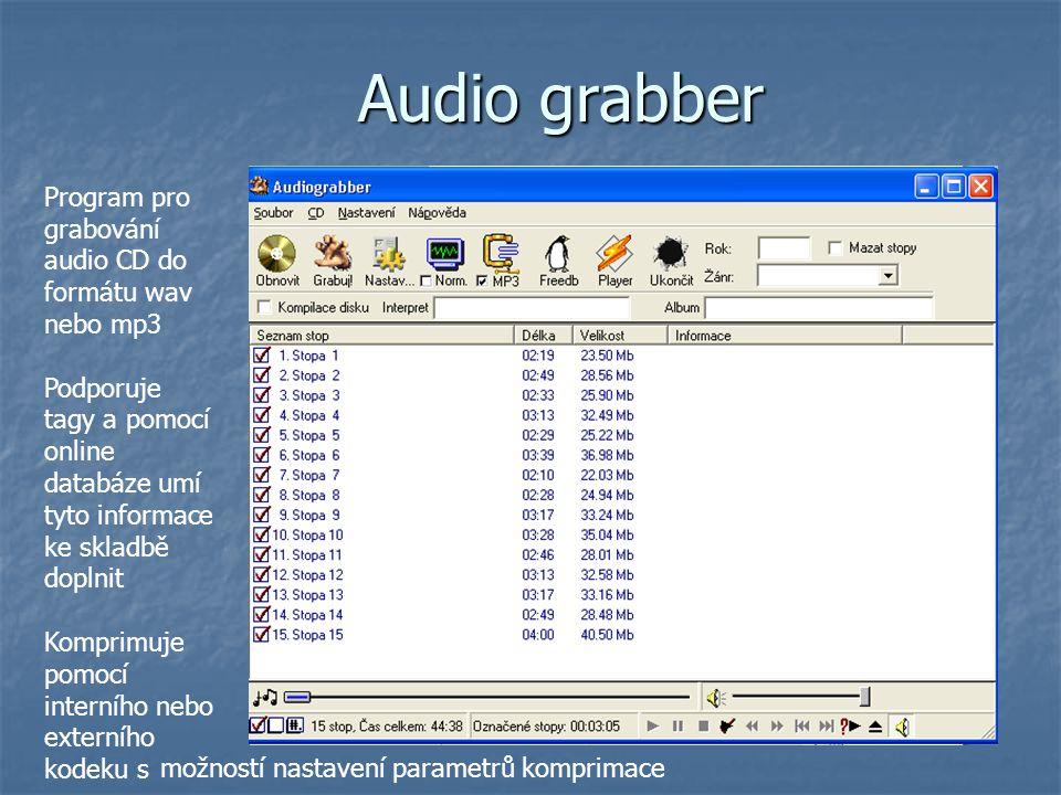 Audio grabber Program pro grabování audio CD do formátu wav nebo mp3
