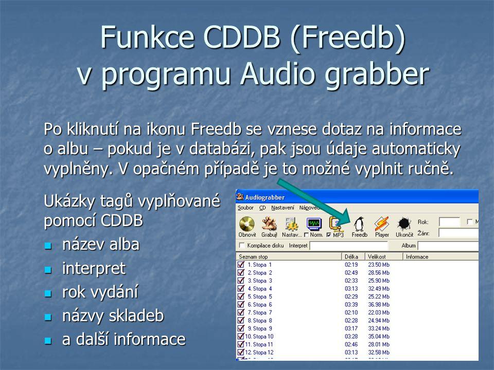 Funkce CDDB (Freedb) v programu Audio grabber