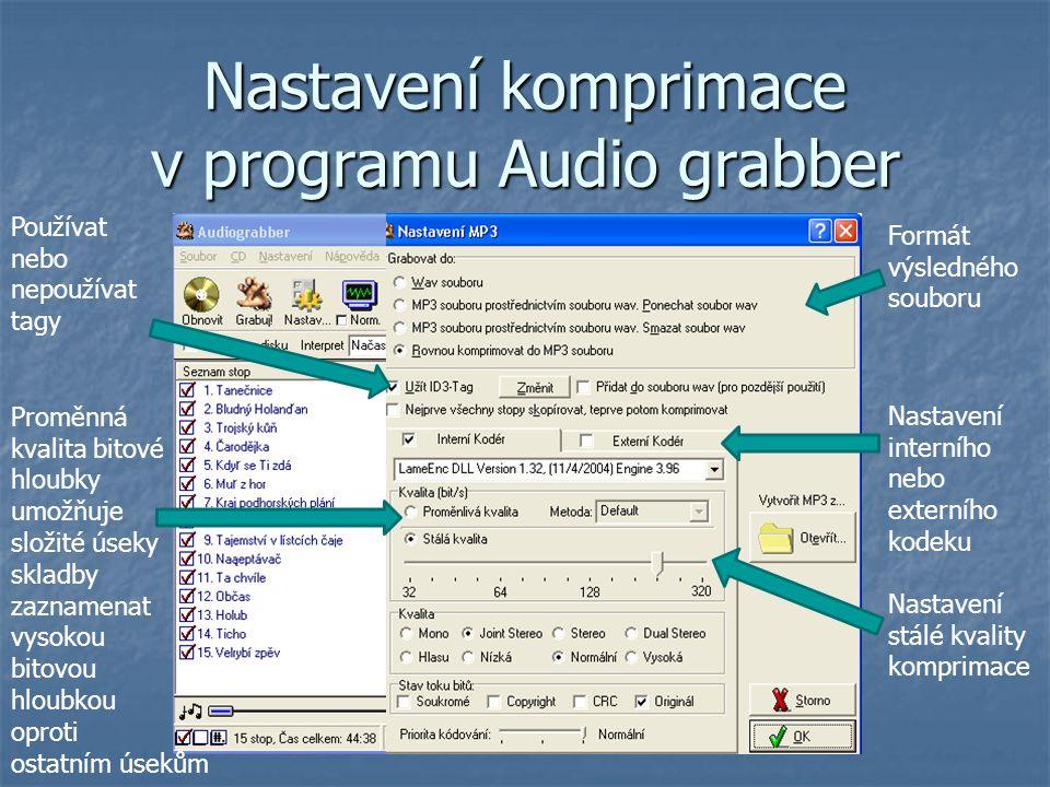 Nastavení komprimace v programu Audio grabber