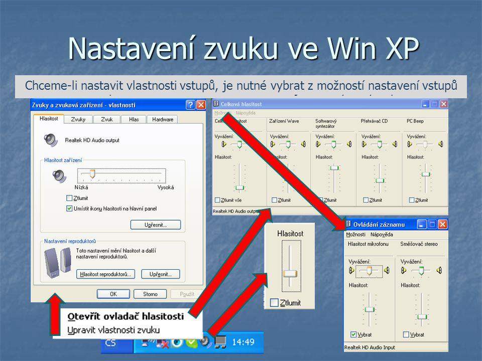 Nastavení zvuku ve Win XP