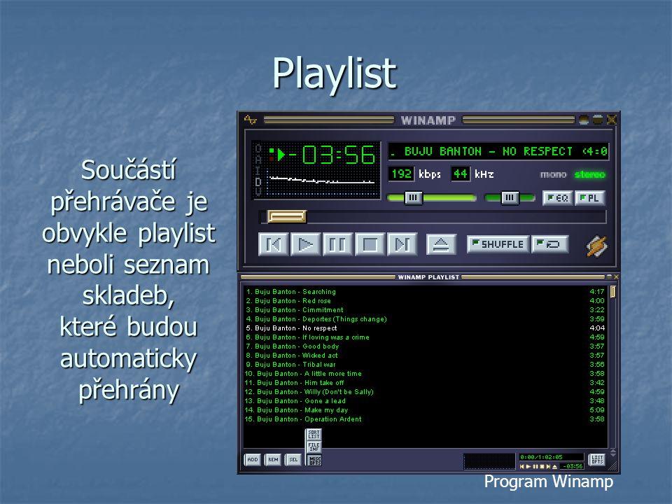 Playlist Součástí přehrávače je obvykle playlist neboli seznam skladeb, které budou automaticky přehrány.