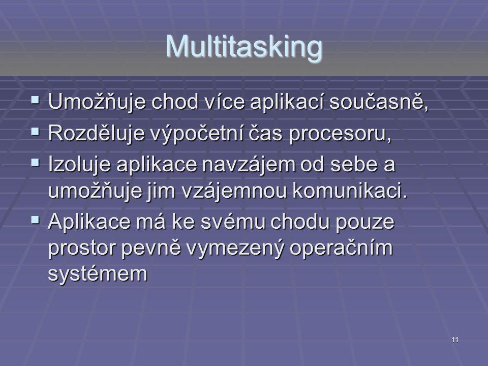 Multitasking Umožňuje chod více aplikací současně,