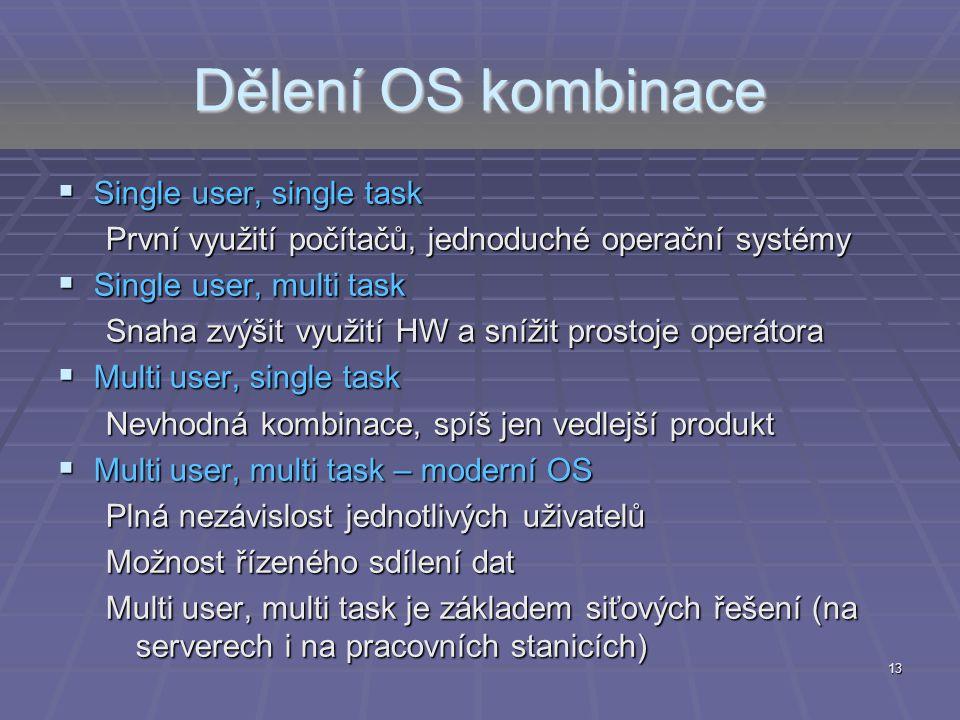 Dělení OS kombinace Single user, single task