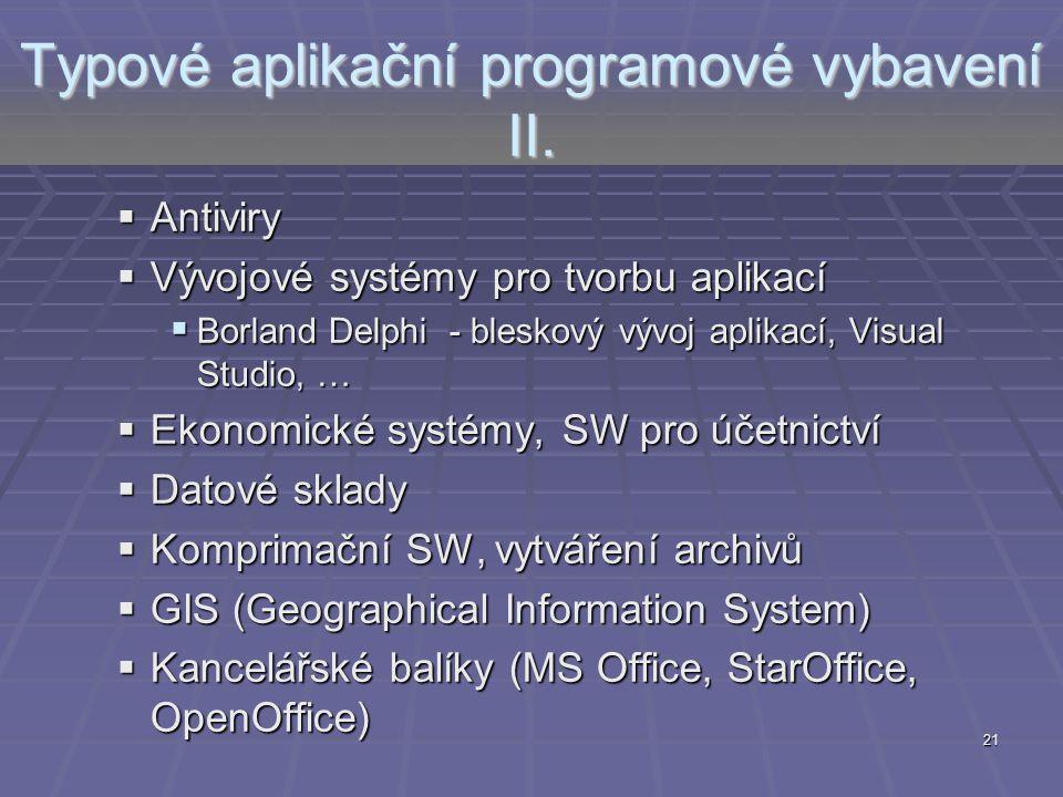 Typové aplikační programové vybavení II.