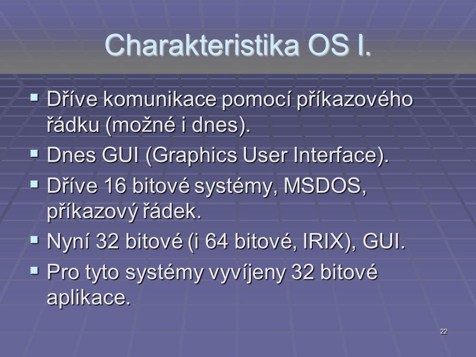 Charakteristika OS I. Dříve komunikace pomocí příkazového řádku (možné i dnes). Dnes GUI (Graphics User Interface).