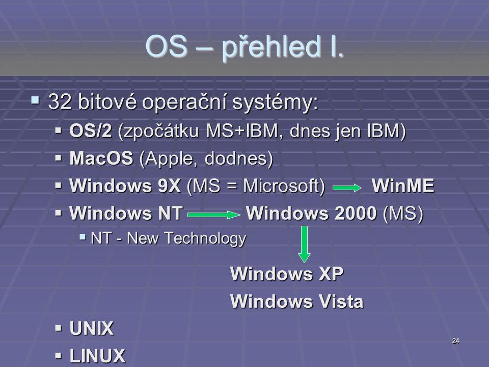 OS – přehled I. 32 bitové operační systémy: