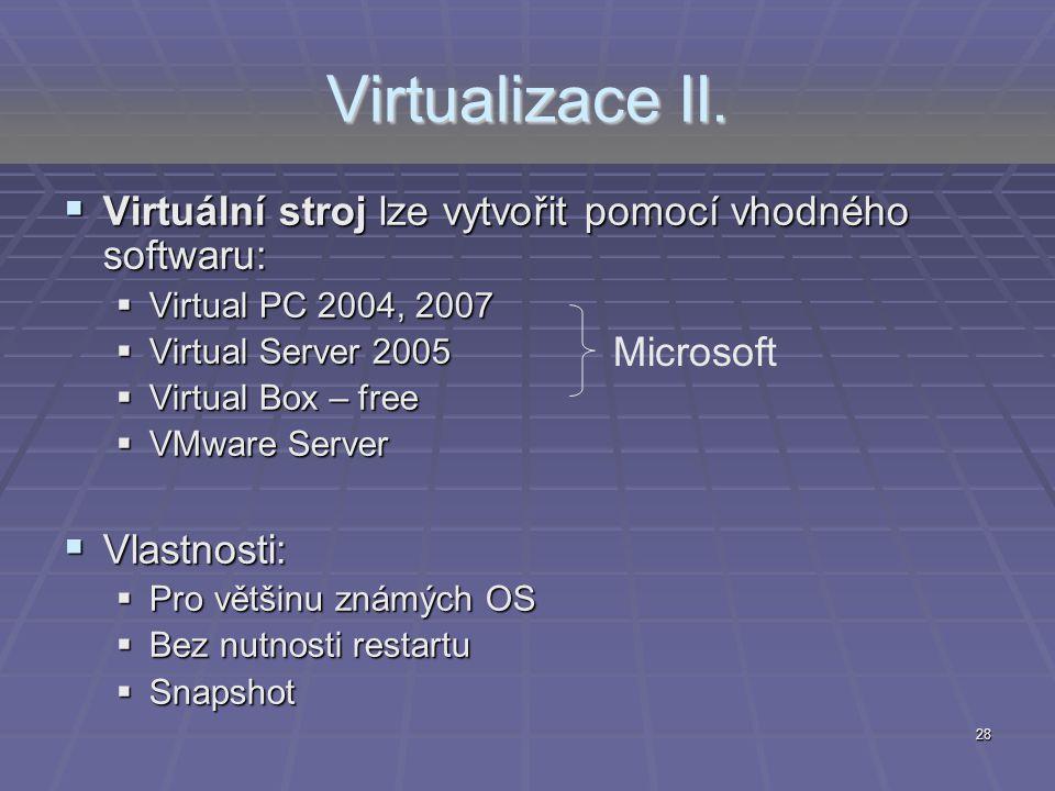 Virtualizace II. Virtuální stroj lze vytvořit pomocí vhodného softwaru: Virtual PC 2004, 2007. Virtual Server 2005.
