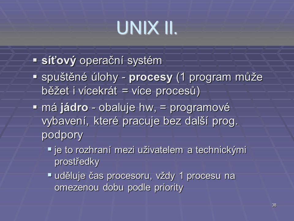 UNIX II. síťový operační systém