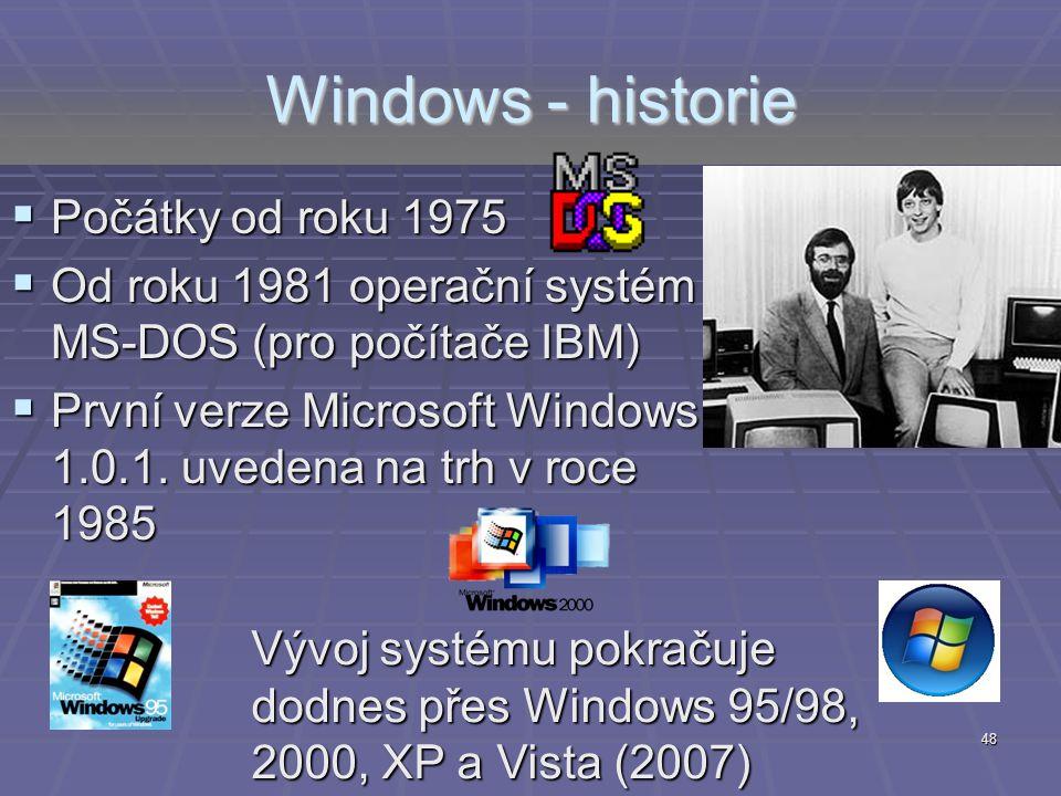 Windows - historie Počátky od roku 1975
