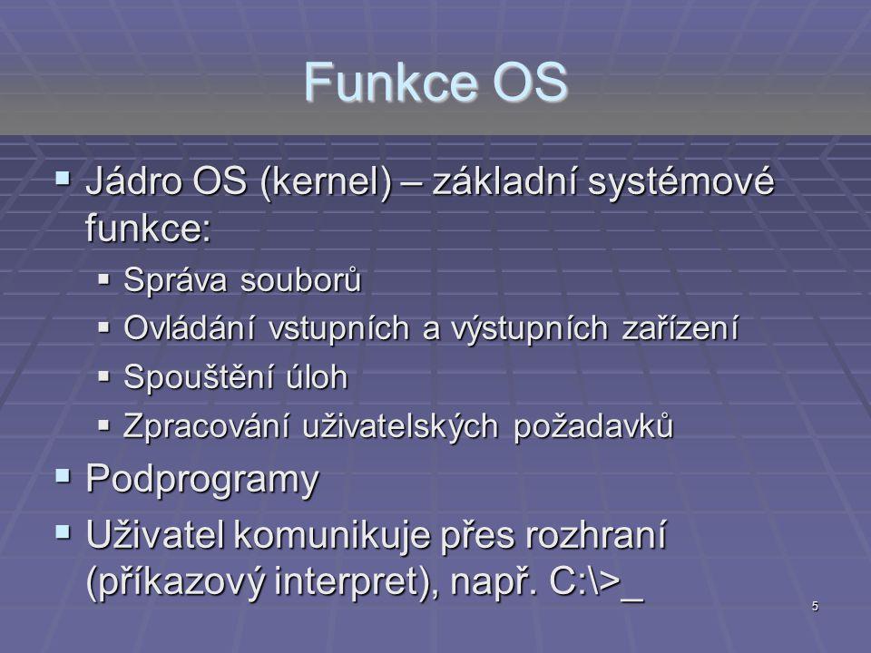 Funkce OS Jádro OS (kernel) – základní systémové funkce: Podprogramy