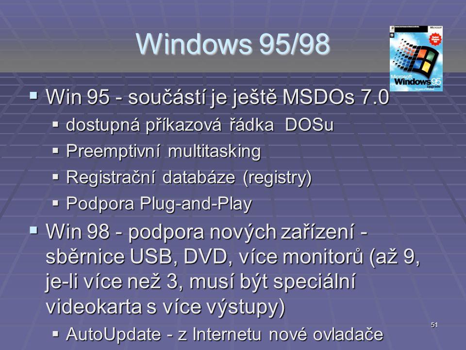 Windows 95/98 Win 95 - součástí je ještě MSDOs 7.0
