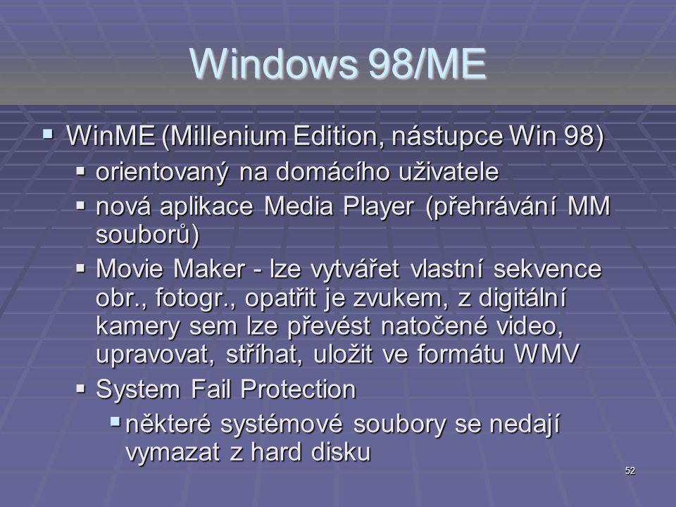 Windows 98/ME WinME (Millenium Edition, nástupce Win 98)