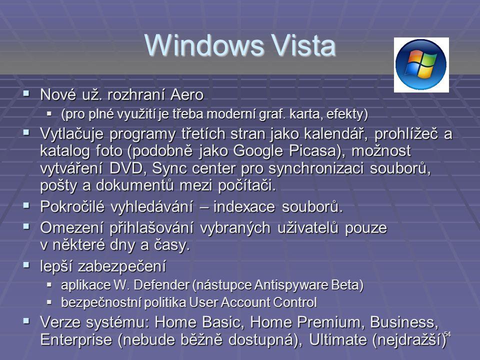 Windows Vista Nové už. rozhraní Aero
