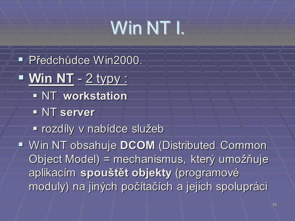 Win NT I. Win NT - 2 typy : Předchůdce Win2000. NT workstation