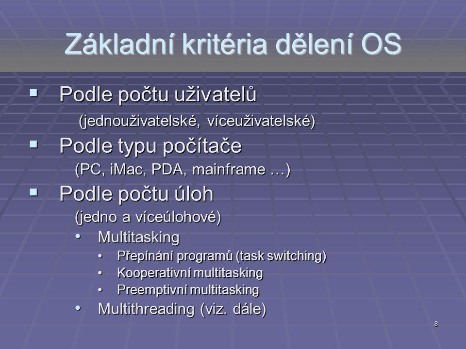 Základní kritéria dělení OS