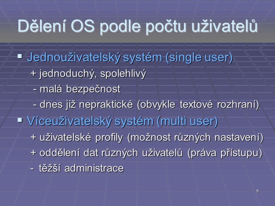 Dělení OS podle počtu uživatelů