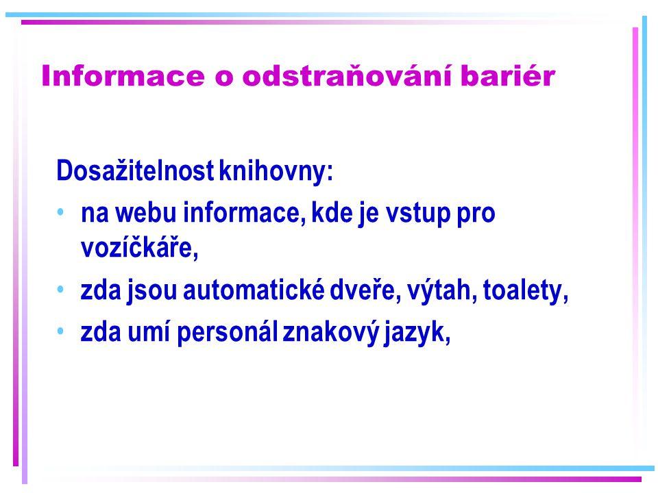 Informace o odstraňování bariér