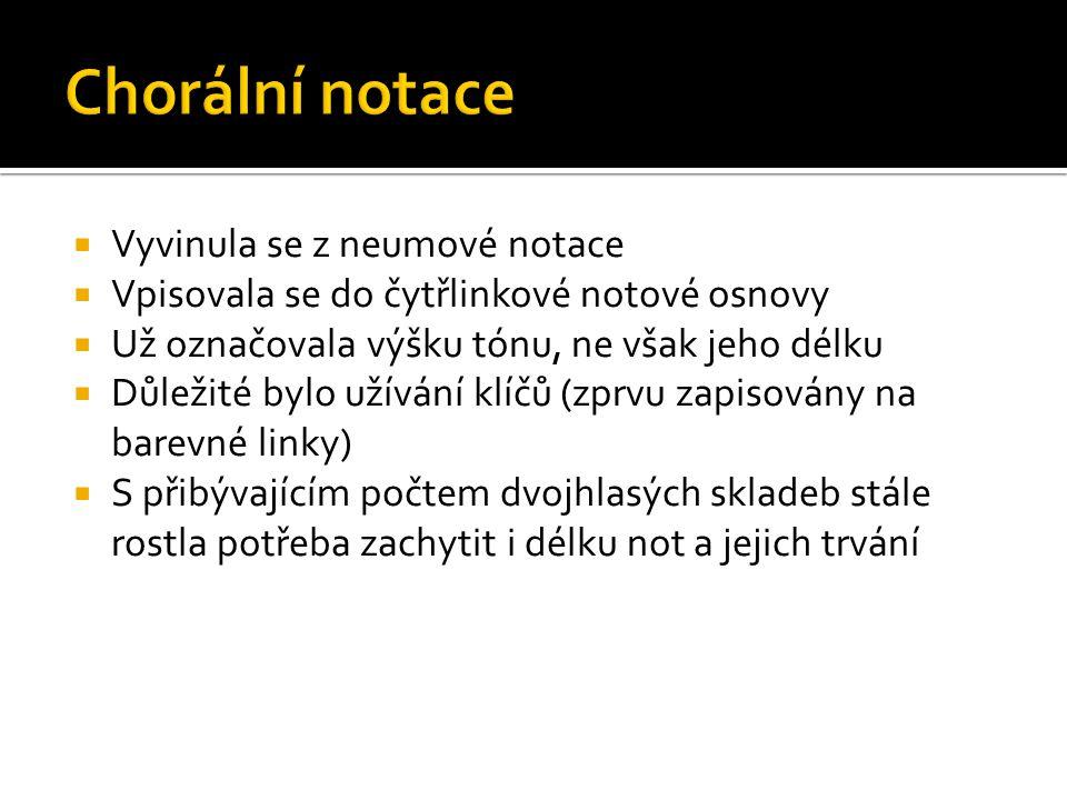 Chorální notace Vyvinula se z neumové notace