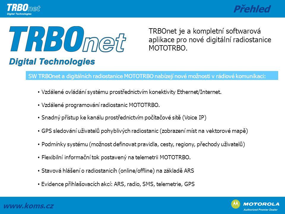Přehled TRBOnet je a kompletní softwarová aplikace pro nové digitální radiostanice MOTOTRBO.