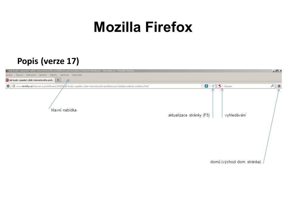 Mozilla Firefox Popis (verze 17) hlavní nabídka