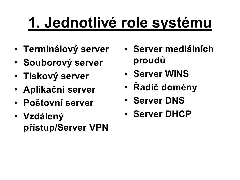 1. Jednotlivé role systému