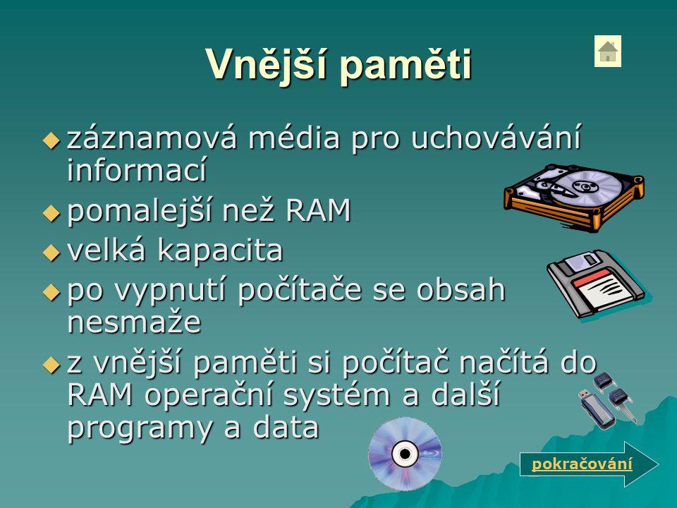 Vnější paměti záznamová média pro uchovávání informací