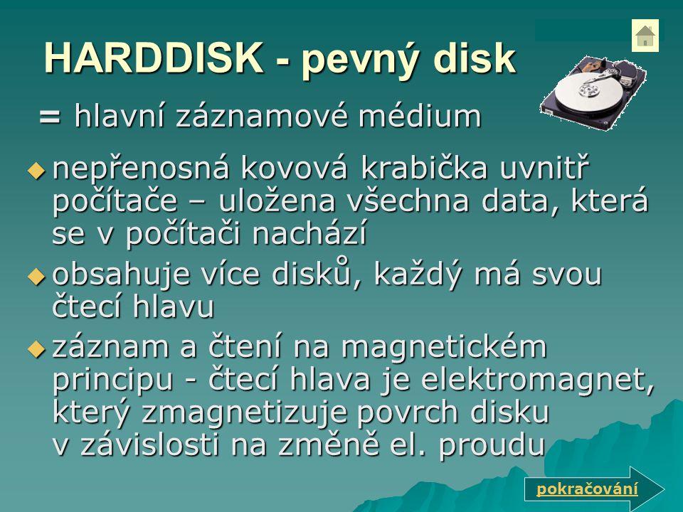 HARDDISK - pevný disk = hlavní záznamové médium