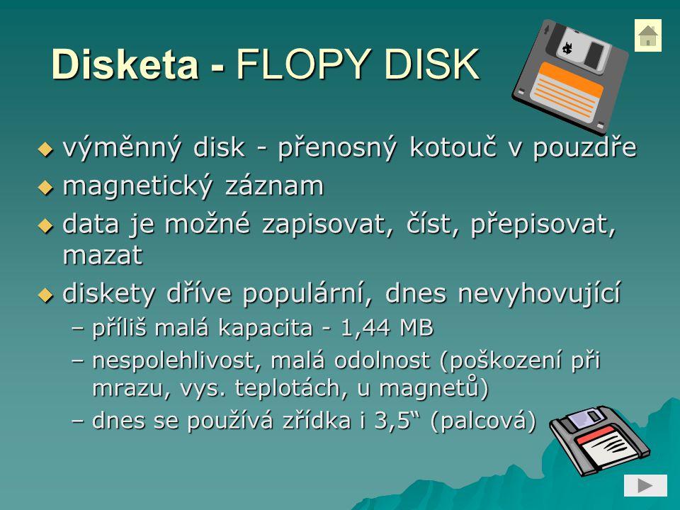 Disketa - FLOPY DISK výměnný disk - přenosný kotouč v pouzdře
