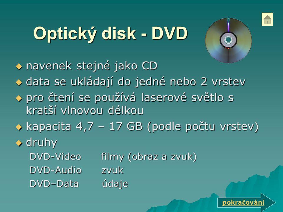 Optický disk - DVD navenek stejné jako CD