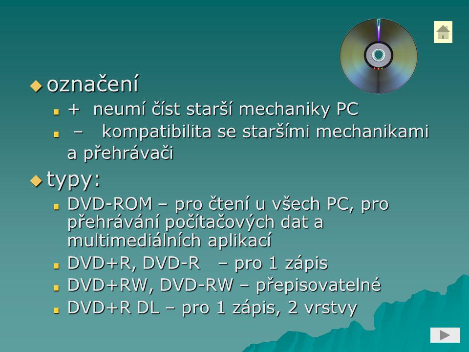 označení typy: + neumí číst starší mechaniky PC