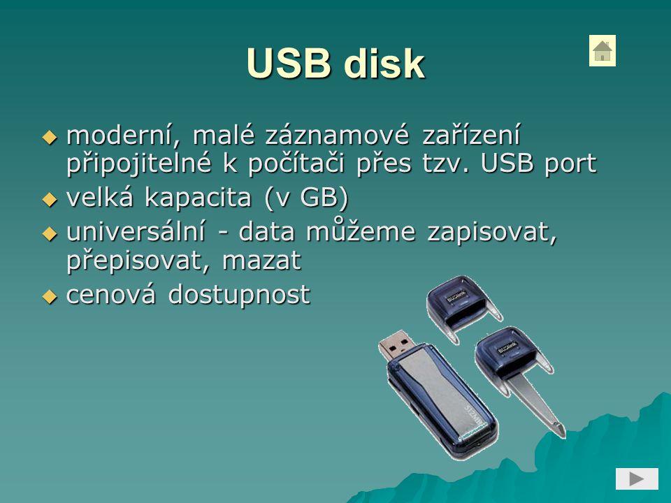 USB disk moderní, malé záznamové zařízení připojitelné k počítači přes tzv. USB port. velká kapacita (v GB)
