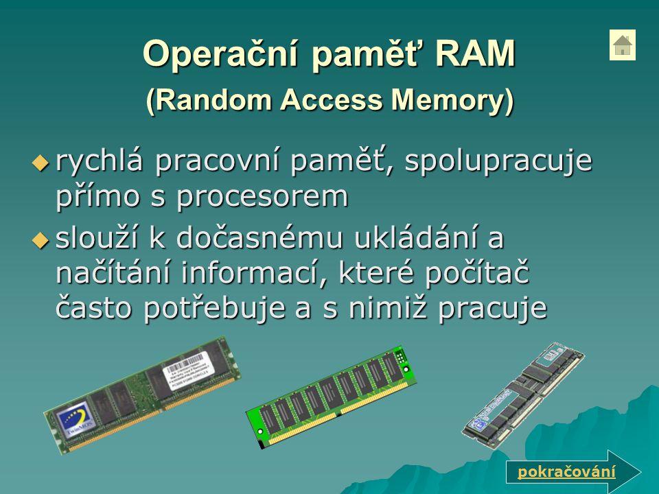 Operační paměť RAM (Random Access Memory)