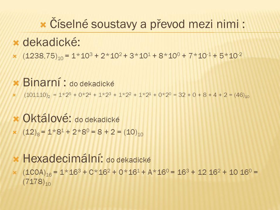 Číselné soustavy a převod mezi nimi :