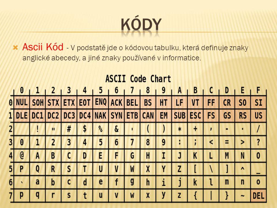 Kódy Ascii Kód - V podstatě jde o kódovou tabulku, která definuje znaky anglické abecedy, a jiné znaky používané v informatice.