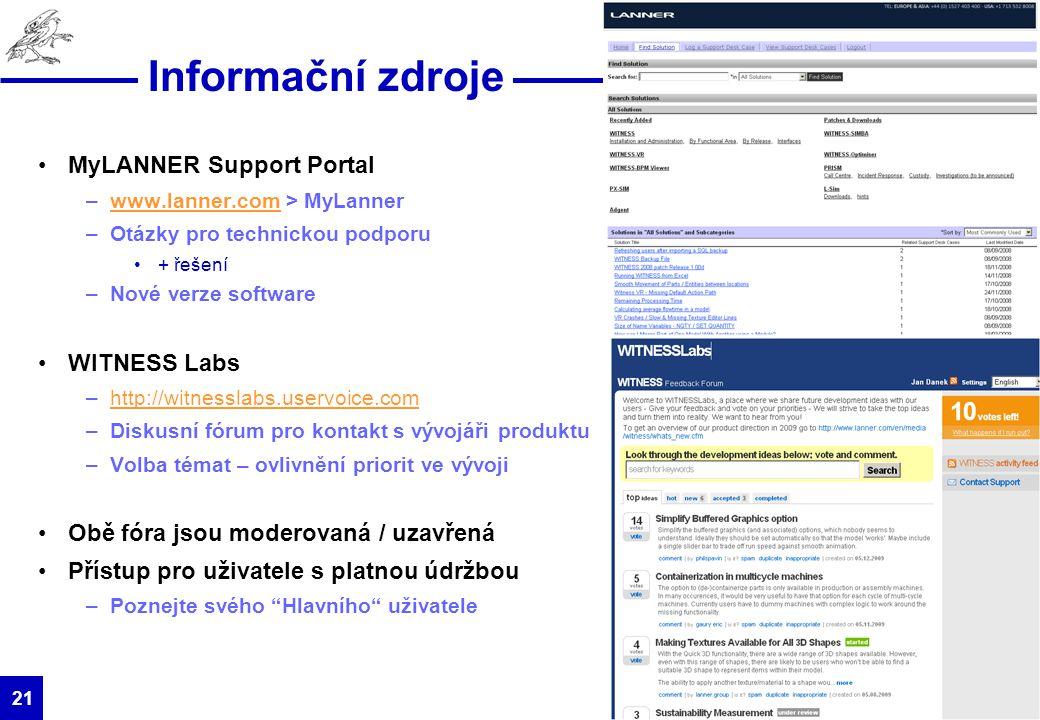 Informační zdroje MyLANNER Support Portal WITNESS Labs