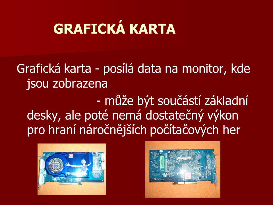 GRAFICKÁ KARTA Grafická karta - posílá data na monitor, kde jsou zobrazena.