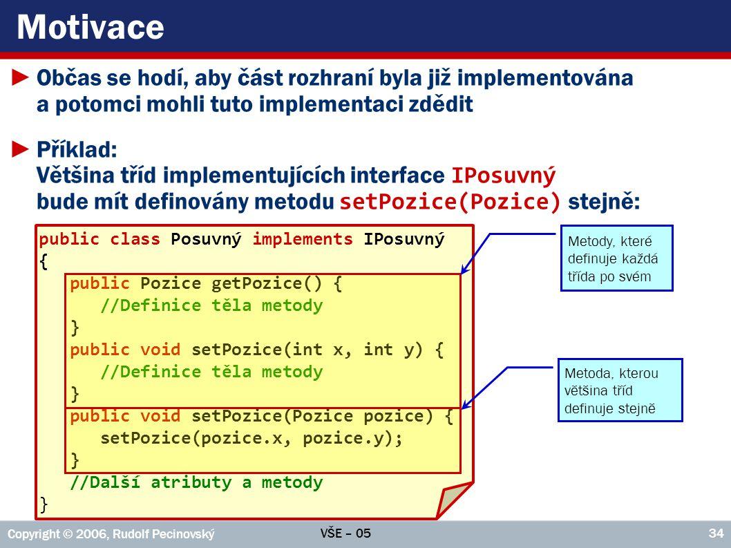 Motivace Občas se hodí, aby část rozhraní byla již implementována a potomci mohli tuto implementaci zdědit.