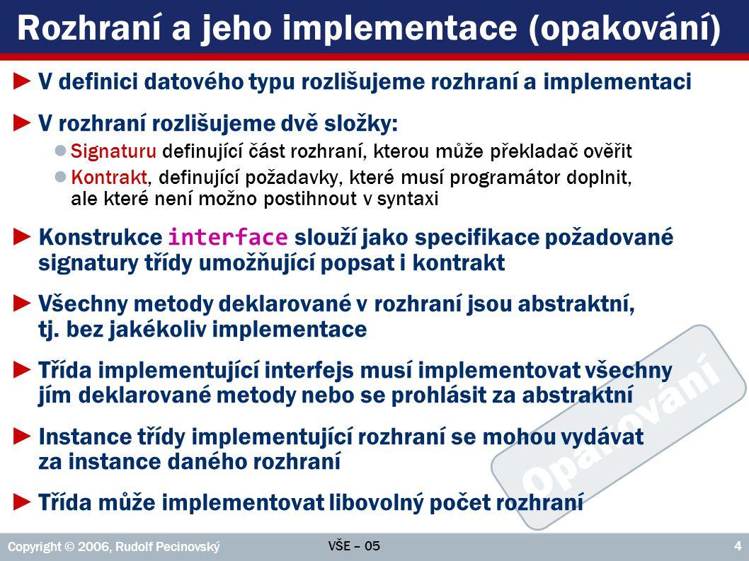 Rozhraní a jeho implementace (opakování)
