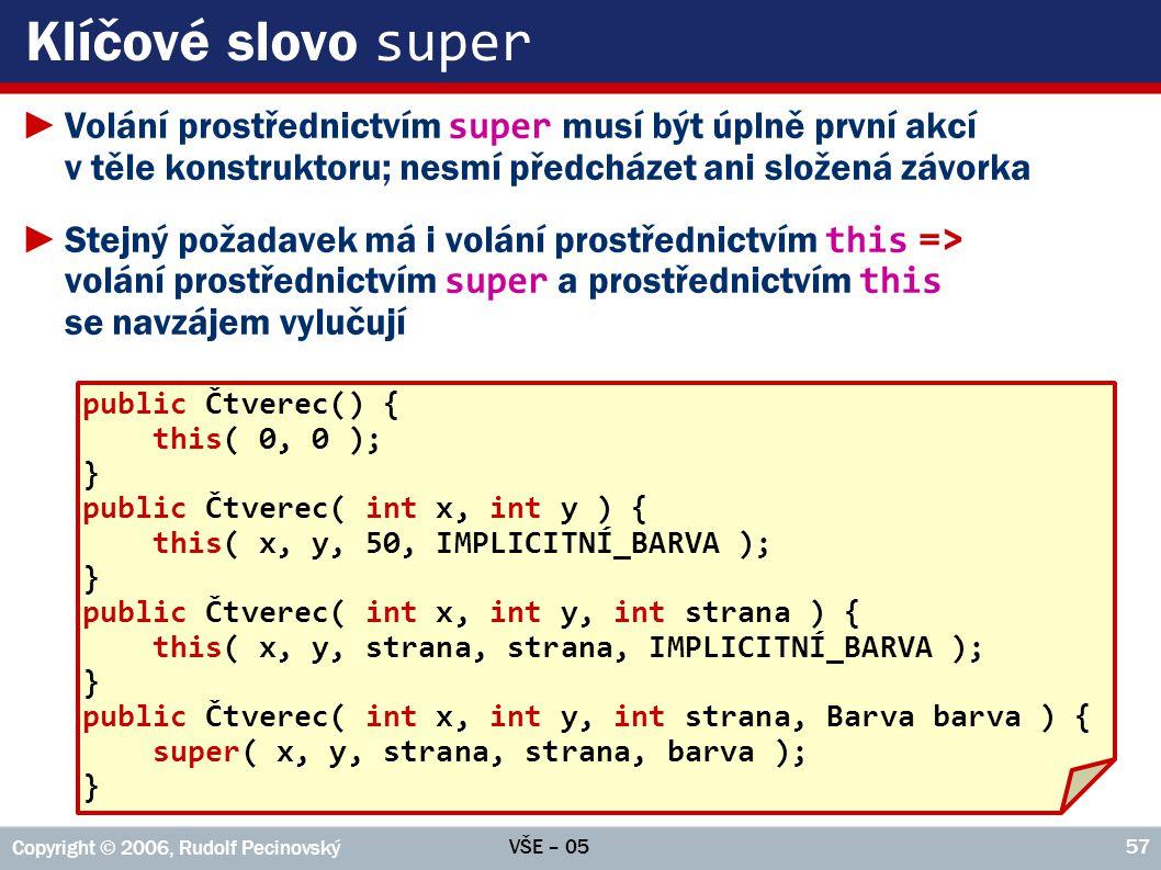 Klíčové slovo super Volání prostřednictvím super musí být úplně první akcí v těle konstruktoru; nesmí předcházet ani složená závorka.