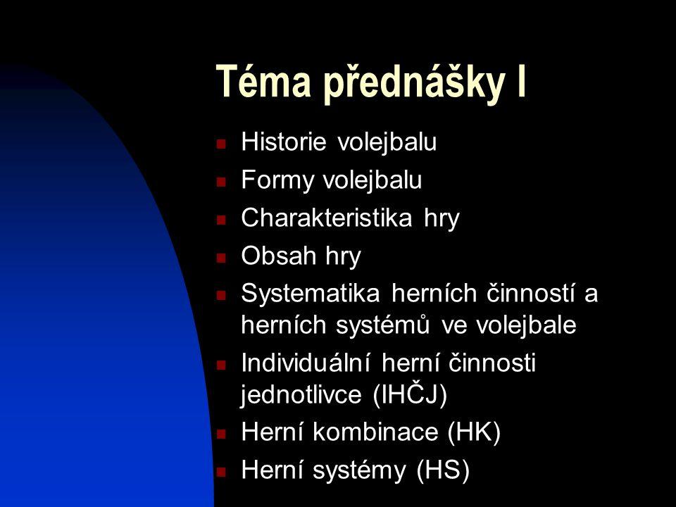 Téma přednášky I Historie volejbalu Formy volejbalu
