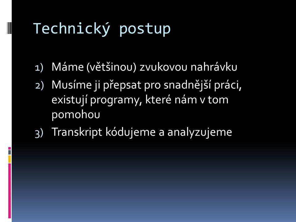 Technický postup Máme (většinou) zvukovou nahrávku