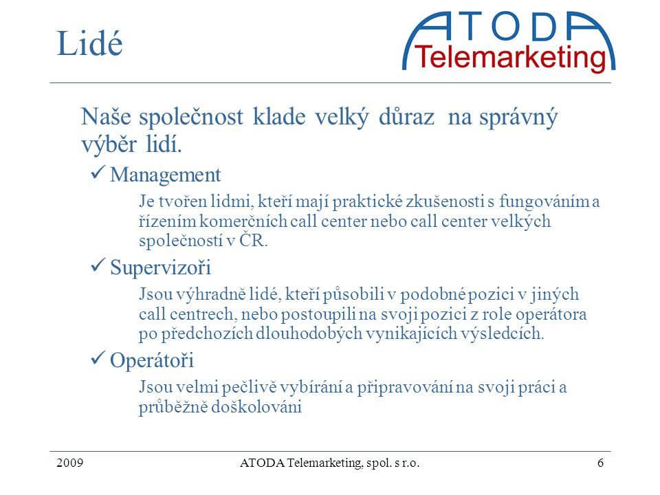 ATODA Telemarketing, spol. s r.o.