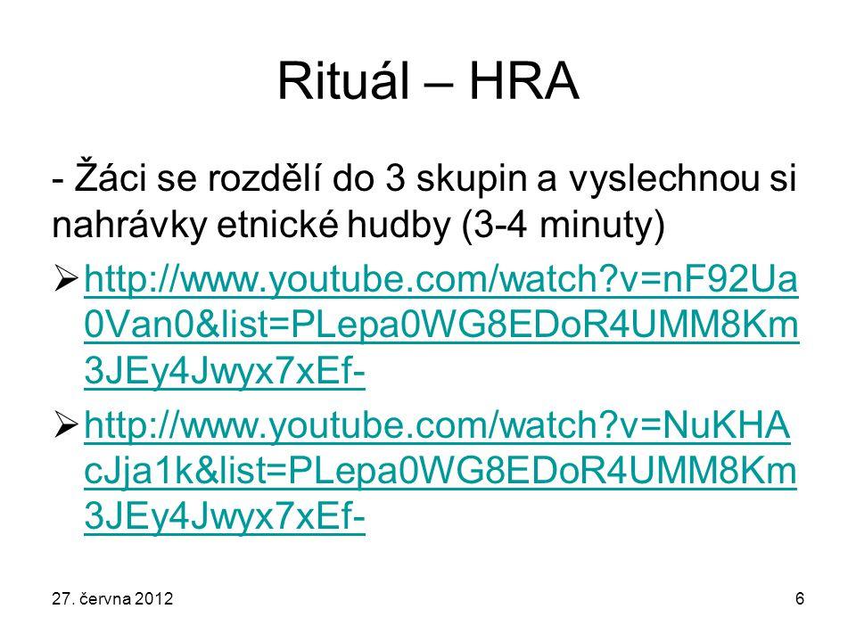 Rituál – HRA - Žáci se rozdělí do 3 skupin a vyslechnou si nahrávky etnické hudby (3-4 minuty)