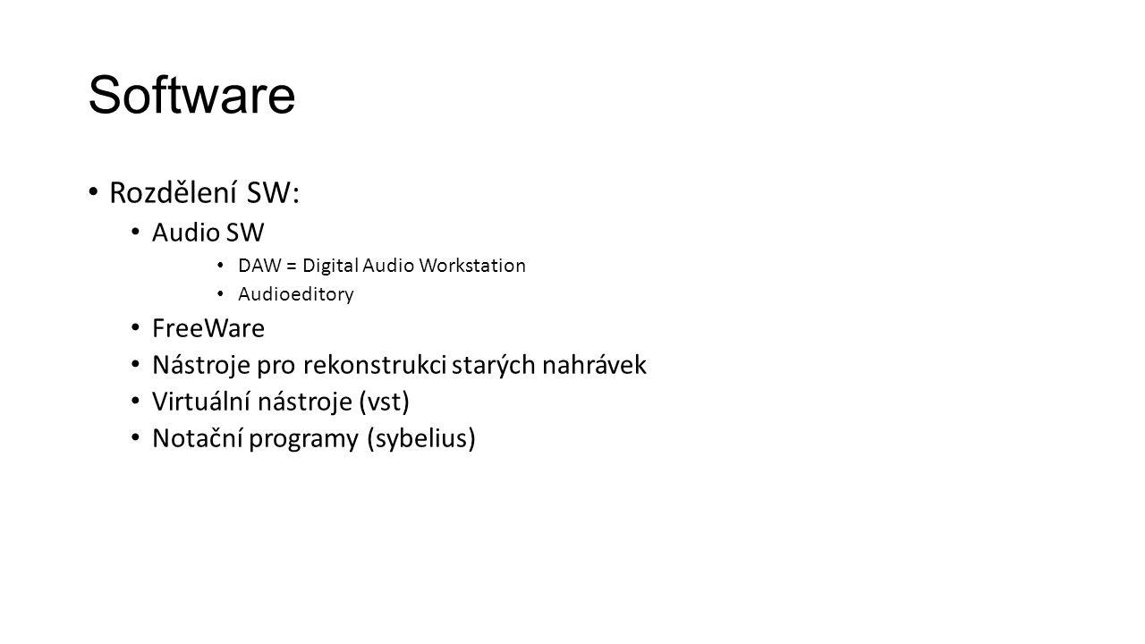 Software Rozdělení SW: Audio SW FreeWare
