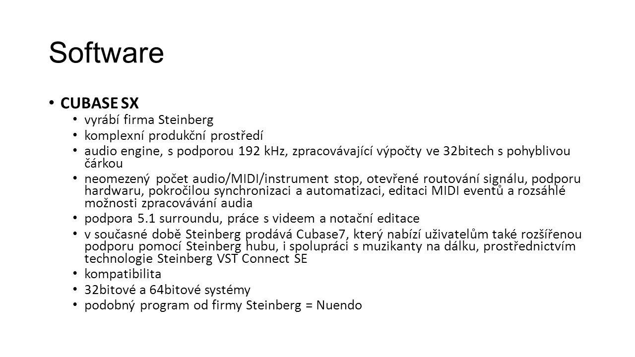 Software CUBASE SX vyrábí firma Steinberg